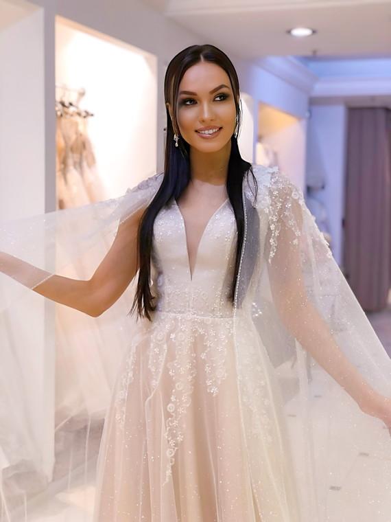 Свадебное платье с кейпом 1492